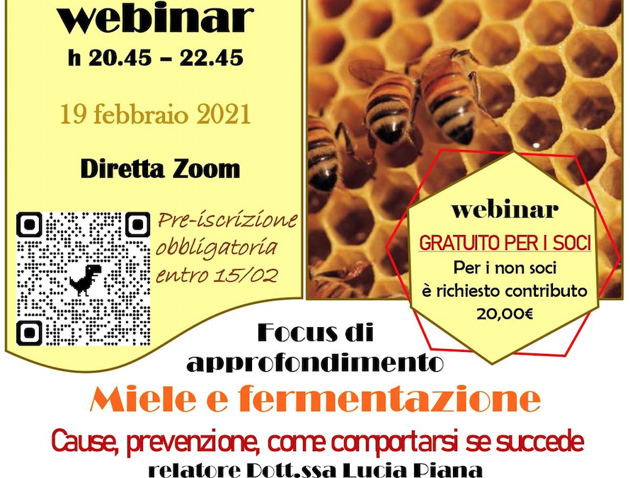Miele e fermentazione. Cause, prevenzione e come comportarsi se succede – Webinar 19/02 ore 20:45